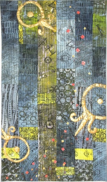 Art quilt by Claire Passmore using gold leaf and hand dyed and embelished fabric