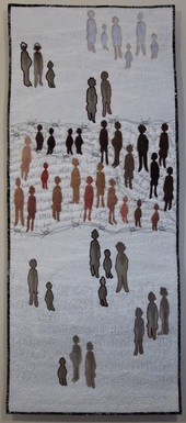 'Forced Removal' an art quilt by Claire Passmore which examines the displacement of people in South Africa under apartheid