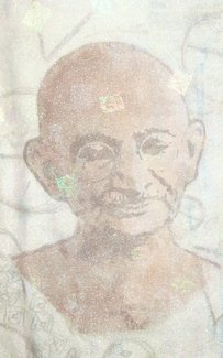 Mahatma Gandhi drawn onto fabric by Claire Passmore