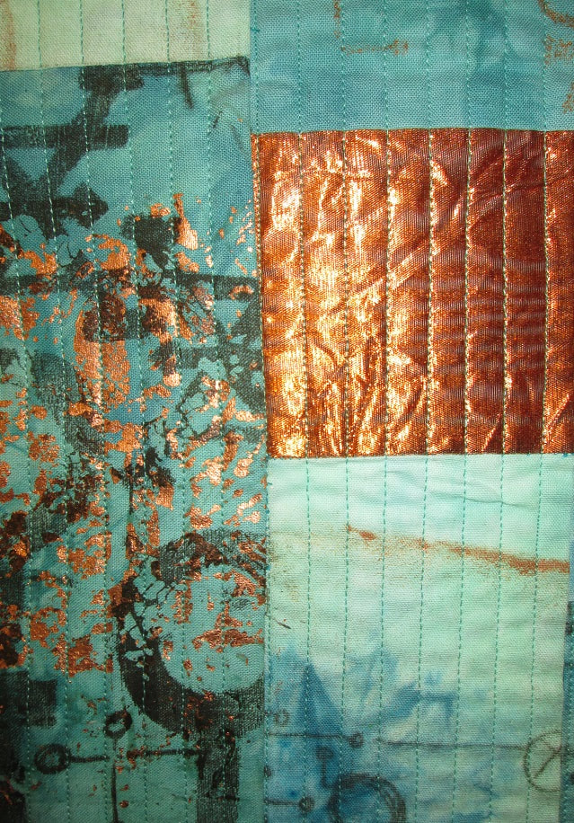 Verdigris fabric dyed and printed by Claire Passmore
