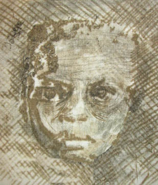 Monoprint of small child's face on fabric by textile artist, Claire Passmore