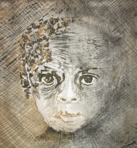 PictureMonoprint of small child's face on fabric by textile artist, Claire Passmore