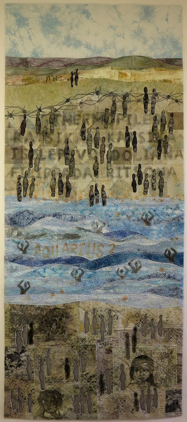 The Lucky Ones - an art quilt by Textile artict Claire Passmore concerning the Syrian refugee crisis